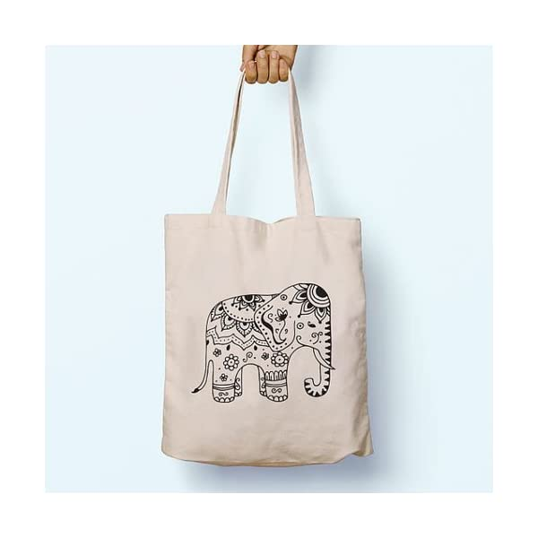 Tribal Elephant, Illustrated, Shoulder, Tote, Long Handles, Graphic, Cute, Tumblr, Hipster, Beach, Gym, Festival, School, Bag - handmade-bags
