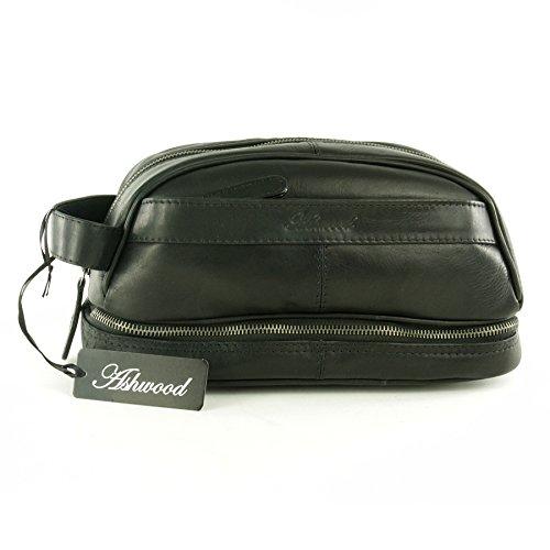 Wäschetasche/Rasierentasche Leder von Ashwood Highbury - Schwarz - GRÖßE: H 15 cm x B 27 cm x T 14 cm Schwarz