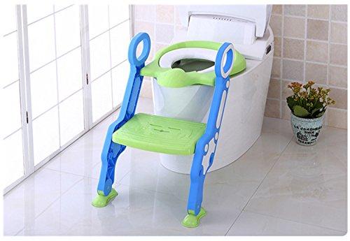 Kinder Toilet Treppenleiter Lerntöpfchen Toilet-Trainer Toilettensitz Fußbank (Grün)