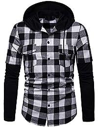 612716ac54 Sylar Camisas para Hombre Manga Larga Casual Patchwork Impresión A Cuadros  con Capucha Botón Slim Fit Tops Polo Camisa Camiseta…