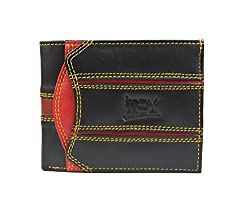 Imex Mens Black & Red Designer Genuine Leather Wallet