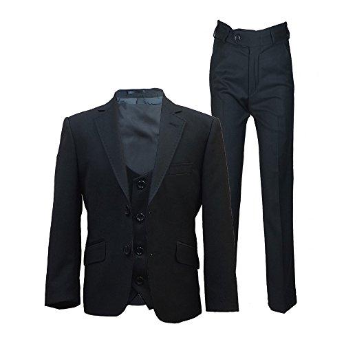 SIRRI Designer Jungen Formelle Enganliegend Anzüge, Pagen Hochzeit Ball Anzug, Exklusiv Kinder Anzug - Schwarz 3 Teile, Jungen, 122