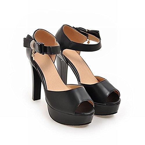 Mee Shoes Damen high heels ankle strap Knöchelriemchen Sandalen Schwarz