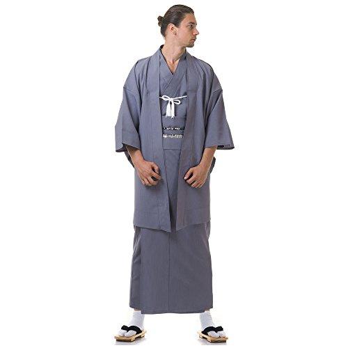 Princess of Asia Japan Herren Samurai Yukata Kimono Haori & Obi Baumwolle One Size M L XL Grau