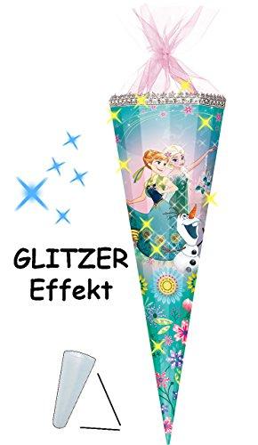alles-meine.de GmbH Schultüte -  Disney Frozen - die Eiskönigin  - 100 cm / 12 eckig - Organza Abschluß - Zuckertüte - mit / ohne Kunststoff Spitze - für Mädchen - völlig unver..