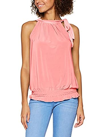 7571-COR-20: Halter Neck Draped Ruched Top Blouse Flattering Bow Tie Summer Party Evening