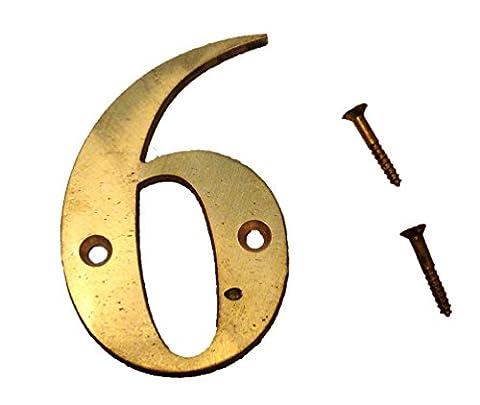 6–7,6cm numéros de laiton–fois romain–Maison Panneau de porte–Nombre - Ottone 3 Pollici Casa Numero