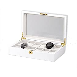 portaorologi White Wooden Box with Window Box Case for 12 Watches