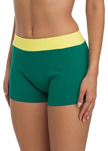 Merry Style Culotte Bikini da Donna Modello S1R1 Verde (70028)/Giallo (1195)