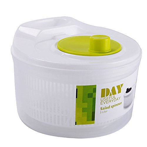 Gemüse-trockner (Salat Spinner, manuelle Salat Spinner bpa frei Salat Trockner Waschmaschine mit Abfluss Schüssel Deckel Handle Haushalt Gemüse Spinner Trockner Vorratsbehälter - 3 Liter)