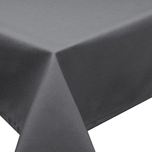 Tischdecke Fleckschutz Lotus Effekt Garten Leinenoptik abwaschbar in 27 Größen und 15 Farben in eckig, oval und rund Farbe: anthrazit eckig 135x200 cm