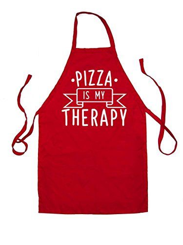 pizza-is-my-therapy-kids-unisex-fit-apron-red-7-10-years