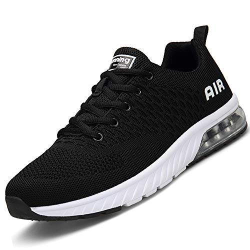 Mishansha Herren Turnschuhe Damen Laufschuhe Rutschfeste Atmungsaktiv Gym Sportschuhe Outdoor Walking Leichte Sneaker Stil 1:Schwarz 44 EU