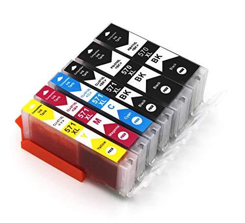 6 Druckerpatronen mit Chip kompatibel zu Canon PGI-570 CLI-571 für Pixma MG5750 MG5751 MG5752 MG5753 MG6850 MG6851 MG6852 MG6853 TS5050 TS5051 TS5053 TS5055 TS6050 TS6051 TS6052 TS8050 TS8051 TS9050