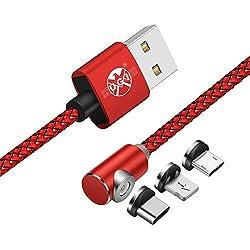 UGI Cable en Forma de L Para iPhone Android Cable de carga magnético 3 en 1 Micro USB Tipo C USB C Cable de 3.3ft/6.6ft/10ft Para Apple iPhone X 8 7 6 Plus Huawei Samsung S5 S6 S7 S7 S8 Plus Edge Más