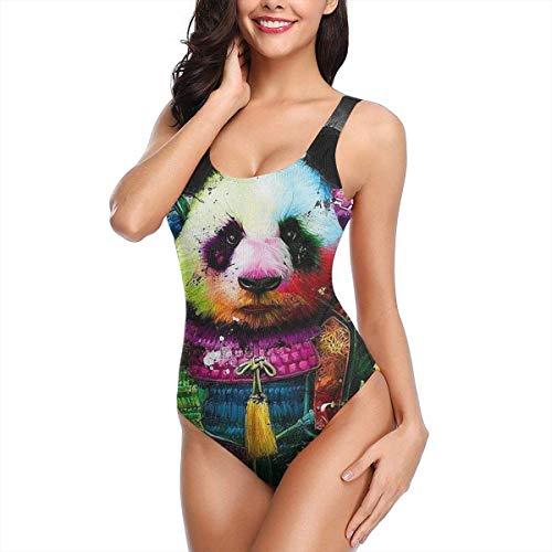 Einteiliger Bikini-Badeanzug für Damen Colorful Rock Panda Swim Halter Bathing Suit Tummy Control Beach Swimwear