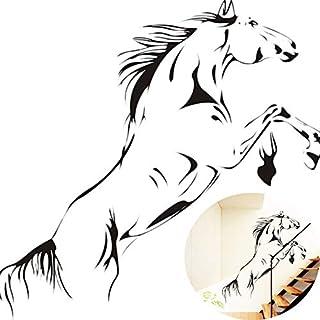 Cwemimifa Wanddekor Baum,New Black Running Horse Wandaufkleber Removable Vinyl Aufkleber Kunstwandhauptdekor,Schwarz,90cmx40cm