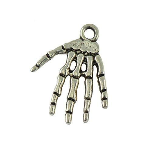 an Silber Punk Halloween Rock Skelett Hand DIY Anhängers ()