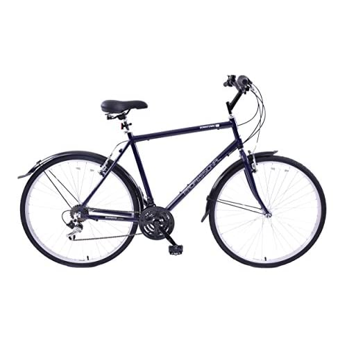 "41fGVzoac2L. SS500  - Professional Downtown 700c Wheel Mens Hybrid Bike Alloy 18"" Frame Dark Blue 18 Speed & Mudguards"