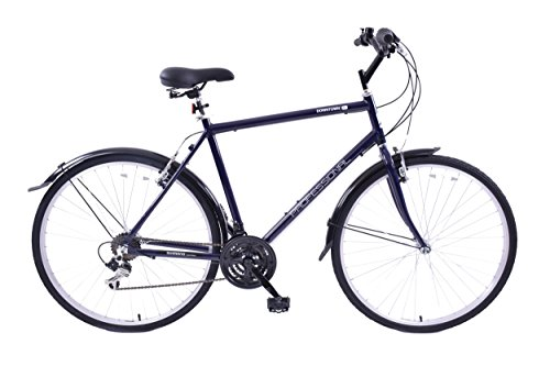 "41fGVzoac2L - Professional Downtown 700c Wheel Mens Hybrid Bike Alloy 18"" Frame Dark Blue 18 Speed & Mudguards"