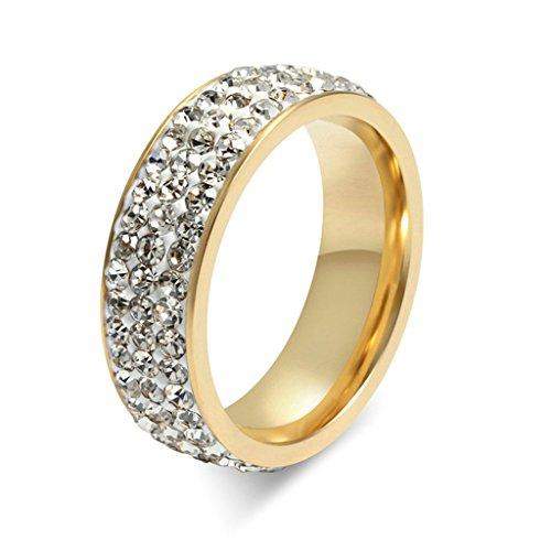 Daesar Anelli Acciaio Inossidabile Oro Donna Eternità Anello Strass Zirconi Anelli Cerchio Rotondo Cut Anello Dimensioni:30