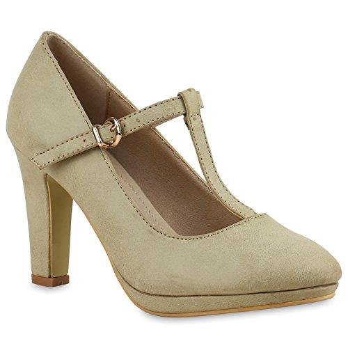 Damen Pumps T-Strap Blockabsatz High Heels Damen Mary Janes Samt Velours Spangenpumps Lack Leder-Optik Schuhe 137512 Khaki 38 Flandell -