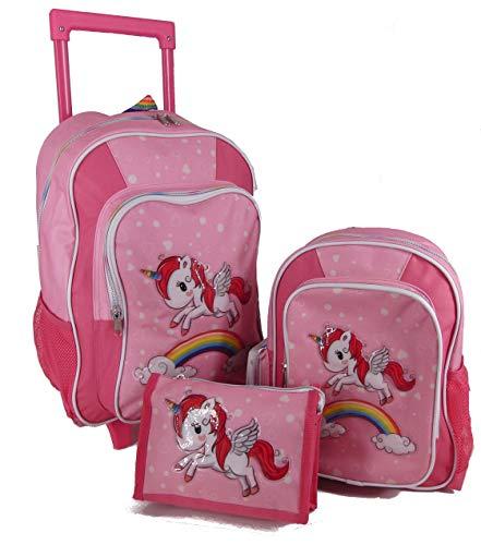 Stefano STEFANO Kinder Reisegepäck Einhorn Unicorn Set Pink mit Regenbogen für Mädchen Kindergepäck