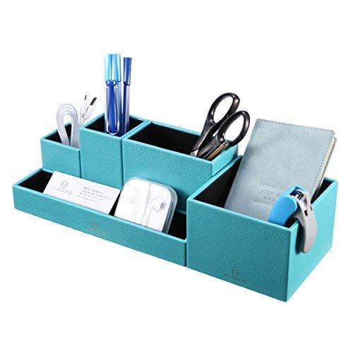 VPACK Stiftehalter aus Kunstleder mit 5 Fächern, multifunktionell, Büro, Schreibtisch,...