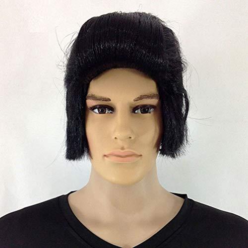 Kurze Perücke für Männer Europäische und Amerikanische Bühne Leistung Lustige Elvis Schwarz Flugzeug Kopf Kleidung Männliche Requisiten Perücke Set Natürliche Mode Cosplay