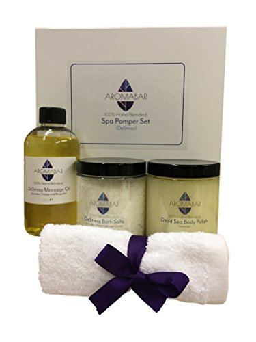 Spa Entspannung Pamper Geschenk Set Set enthält Entspannung Körper Massageöl, Stressabbau Badesalz aufweichen, Lavendel Totes Meer Körperpeeling