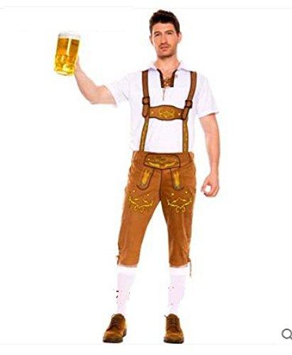 WEII Deutsch Oktoberfest Kleidung Bar Bier Kostüm Set Halloween Spiel Uniform,Khaki,XL
