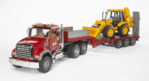 Image of Bruder 02813 MACK Granite Truck with Low Loader and JCB 4CX