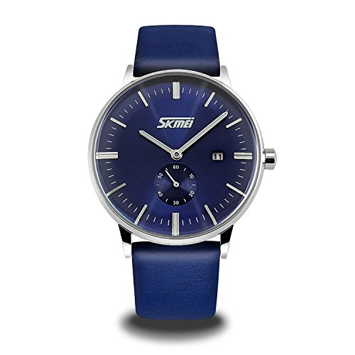 Mens-Unique-Quartz-Analog-Casual-Classic-Waterproof-Dress-Wrist-Business-Watch-with-Quartz-Analog-Dial-and-Seconds-Sub-dial-Leather-Strap-Blue