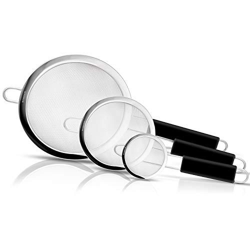 SOSMAR 3Pcs Hochwertig Edelstahl Küchensieb Sieb für Küche Kochen und Backen - Verstärkter & Antirutsch Silikon Griff - φ 7, 12 & 18cm Netze