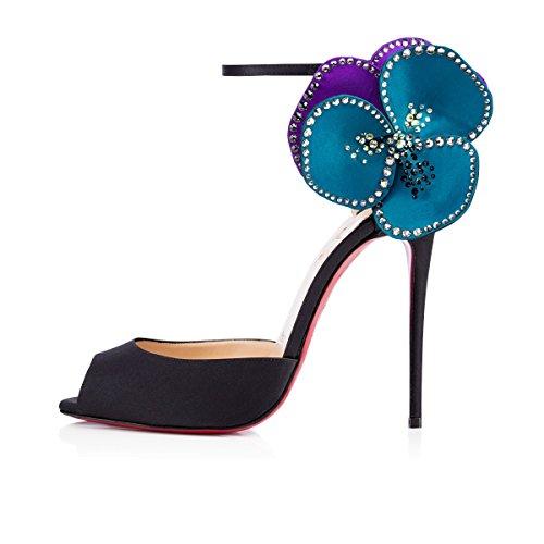 stile europeo sandali romani sexy nere con tacco alto scarpe - petali di trascinare moda banchetti scarpe sposarsi damigella d'onore Nero