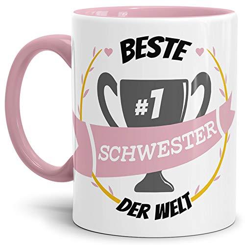 Tassendruck Kaffee-Tasse Schwester Innen & Henkel Rosa/Lustig / Fun/Mug / Cup/Geschenk Qualität - 25 Jahre Erfahrung