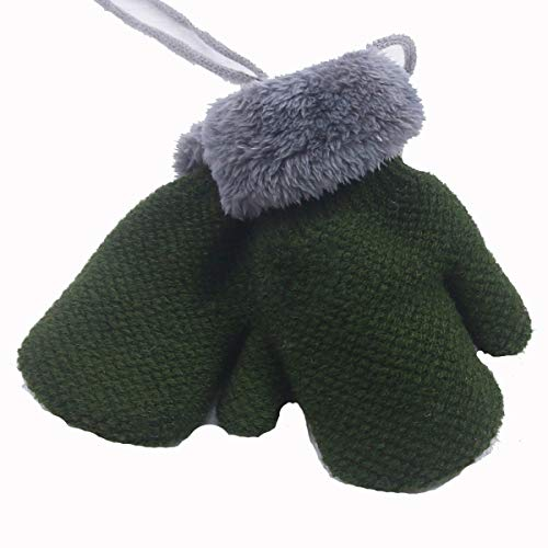 Sherpa Baumwolle Hut (Chennie Säuglingshandschuhe Winter warme Baumwollhandschuhe Neugeborene Jungen Mädchen Wolle gefüttert gestrickte Handschuhe für 1-5 Jahre (Color : Green))