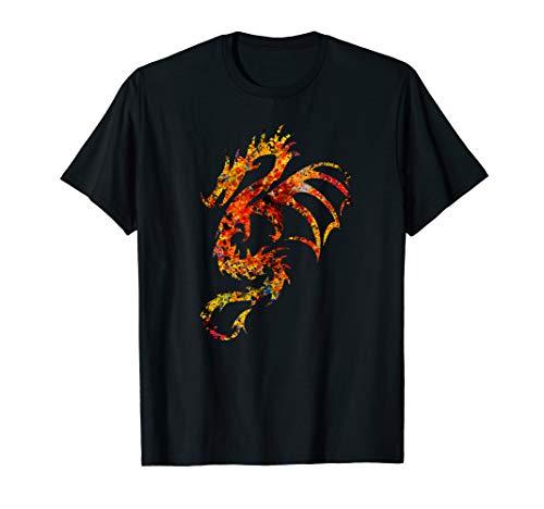 Bunter Drache T-Shirt Fabelwesen Fabeltier Fantasy Dragon - Drachen-grafik-t-shirts