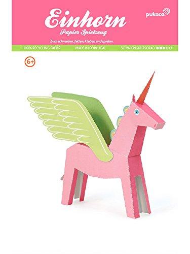 Rosa Einhorn, Bastelvorlage Fabelwesen, Papier Spielzeug zum Basteln & Spielen