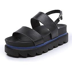 Damen Open Toe Sandalen 2017 Sommer Platform Schuhe Dicke Sandalen Leder Gürtelschnalle Anti-Rutsch Mid Heel Schuhe , black , 38