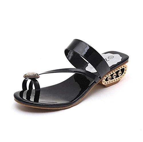 Lldmb Verão Sandálias De Diamante Decoração Elegante Temperamento Chinelos Legais Das Mulheres Toe Anti - Sapatos Antiderrapantes Preto
