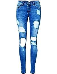 Femmes Pantalon Jeans Slim Rétro Trous Crayon Slim Leggings