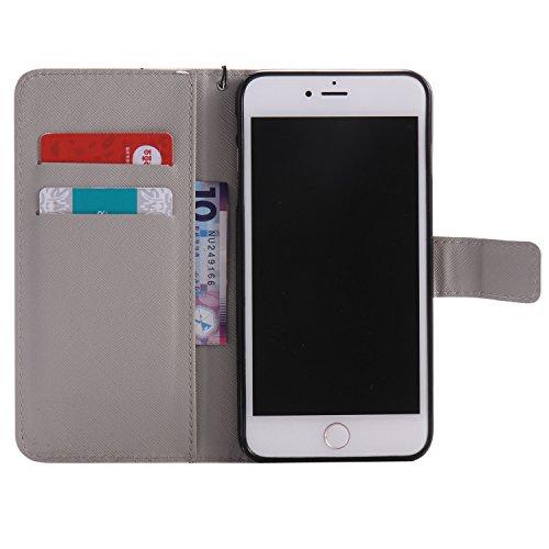 PU iPhone 7 Plus (5.5 pouces) Motif Imprimé Étui Housse en Cuir Ultra-mince Fermeture Aimantée Housse de Protection Coque pour Apple iPhone 7 Plus (5.5 pouces) Étui Case Cover avec Stand Support