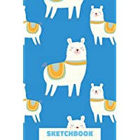 Sketchbook: Small Portable Blank Sketchbook for Drawing, Sketching, and Doodling with Llama Pattern Cover Design in Blue