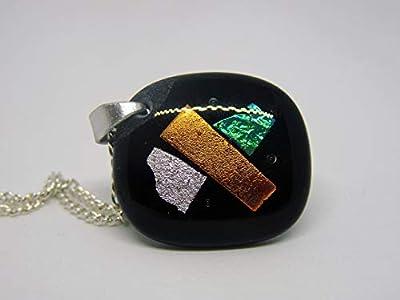 Pendentif Sylvana en verre fusionné vert, argent, et orange
