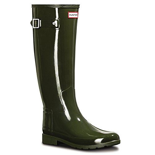 Donna Hunter Original Refined Tall Gloss La Neve Pioggia Wellingtons Stivali Verde
