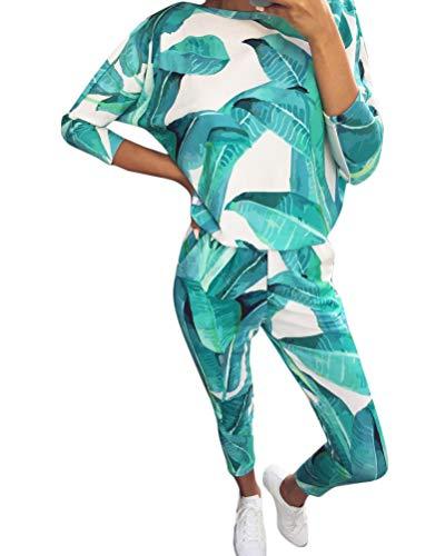 Tomwell Damen Mode Trainingsanzug Frauen Drucken Lange Ärmel Shirt Top + Lange Hose Sportswear 2 Stück Set Sport Yoga Outfit Hellgrün DE 42 -