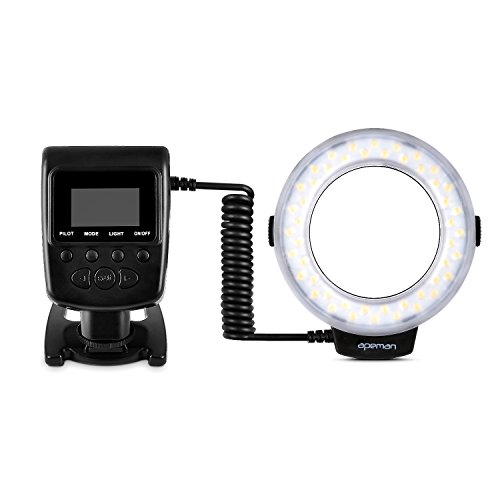 APEMAN-Macro-LED-Ring-Light-Flash-with-8-Adapter-Rings-and-4-Diffusers-Supports-Continuous-Light-and-Flash-Mode-LCD-Panel-for-Easy-Settings-Compatible-with-Canon-Nikon-Olympus-Panasonic-Pentax