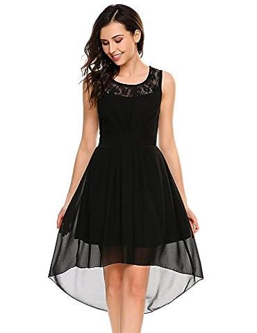 Beyove Womes Casual Sleeveless Lace Chiffon Cocktail Party Wedding Dress
