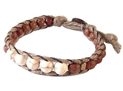 Artisan Asiatique Bracelet Fait Main 100% Chanvre Corde Howlite Pierre Perles En Bois Laiton Blanc